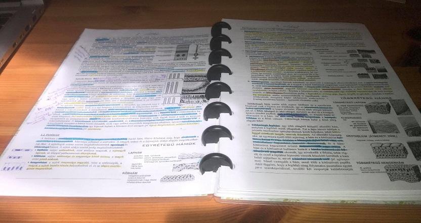 kinyomtatott jegyzetek