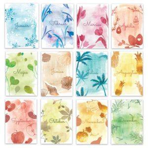 Akvarell hónaphatárolók A5 korongos füzethez naptárhoz